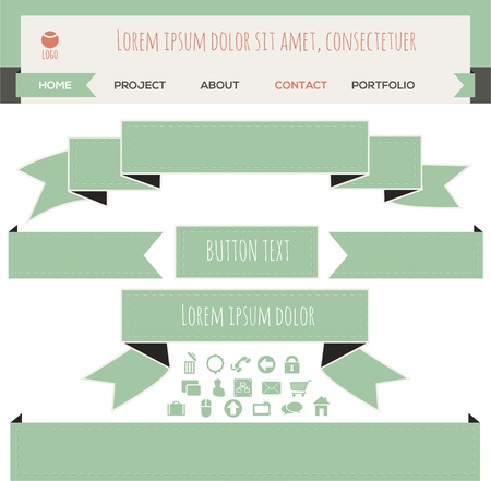Set of ribbon banners. Vector