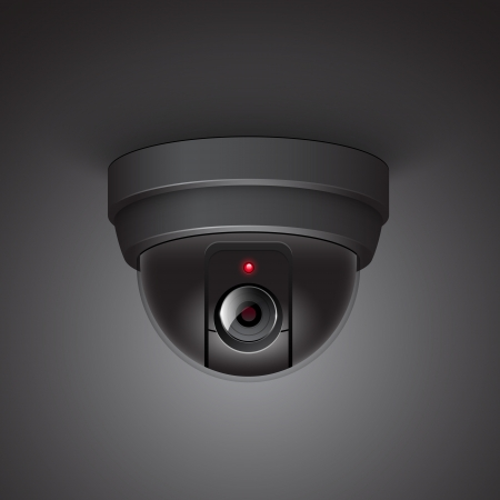 Video surveillance camera illustration isolated on white background Vector
