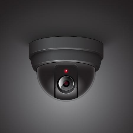 Video surveillance camera illustration isolated on white background