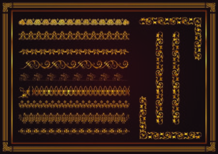 Set of seamless border ornament for design, Henna drawing and tattoo. Decorative pattern in ethnic oriental