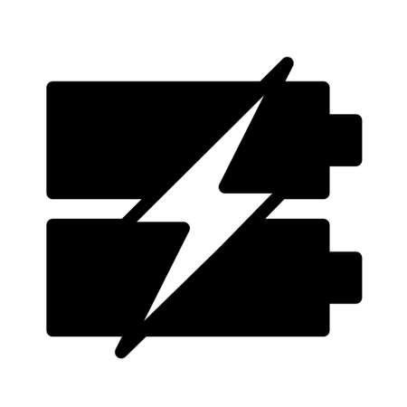 fast charhing battery icon logo or illustration with solid stroke style vector design. perfect use for web, mobile app, pattern, design etc.