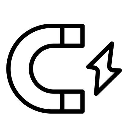Energy magnet icon logo or illustration with outline stroke style vector design. perfect use for web, mobile app, pattern, design etc.