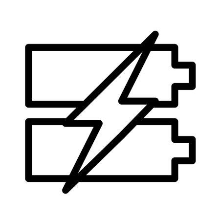 fast charging battery icon logo or illustration with outline stroke style vector design. perfect use for web, mobile app, pattern, design etc. Ilustração