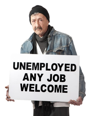 An unemployed senior man advertises himself in an attempt to become employed.