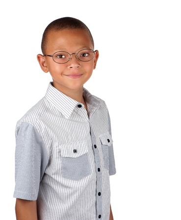 A friendly teenage boy wears spectacles for better eyesight.