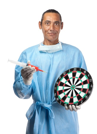 A health care professional points a needle and syringe to a dartboard suggesting target practice or targeting health care.
