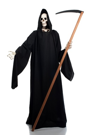 A grim reaper invites anyone to join him