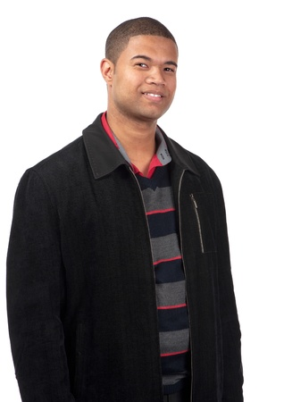 A confident young man smiles on a white background.