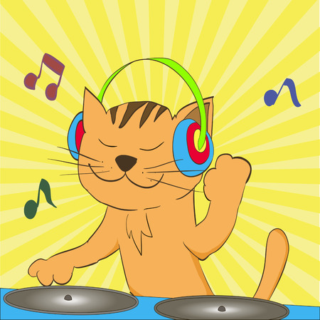 d�coller: notes take off from a musical cat headphones Illustration