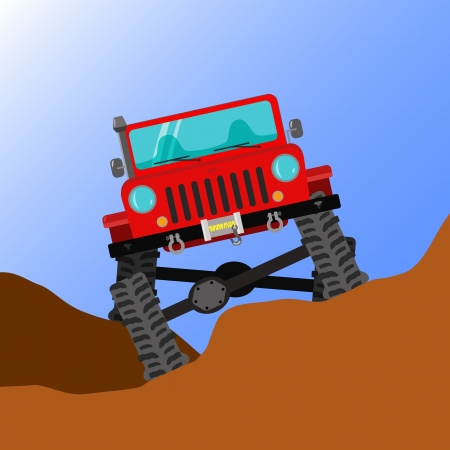 terrain: Modified off-road car running through rough terrain, front view