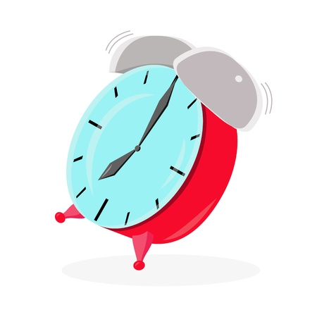 Red ringing isolated alarm clock with shadow, 7-oclock Stock Vector - 16625008