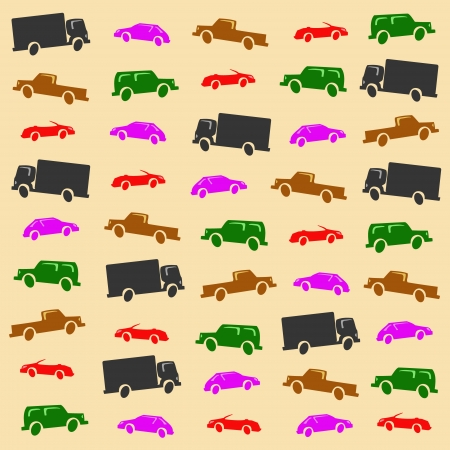 hatchback: Six abstract cars background, four-wheeler, hatchback, cabrio, lorry, pickup