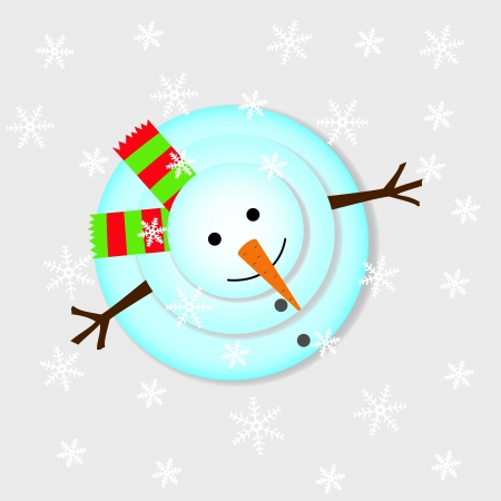 Snowman looks up, standing in the falling snow Stock Vector - 16625031