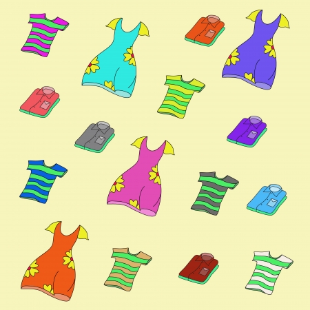Background of shirts, T-shirts and dresses of different colors