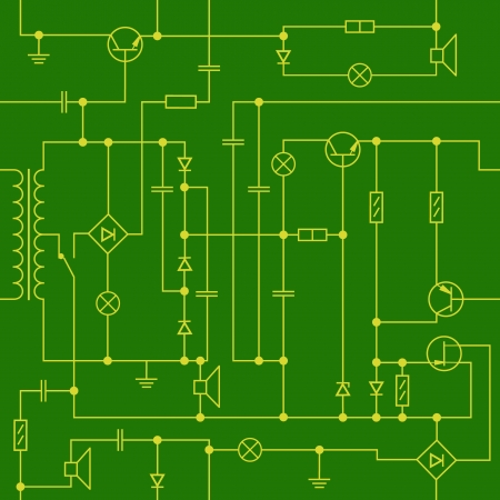 Schema di disegno di elementi di radio, giallo e verde sfondo trasparente Vettoriali
