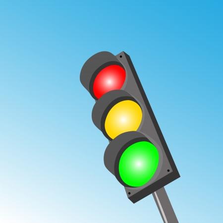 Traffico tipica luce, tre sezioni, rosso, giallo, verde