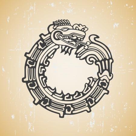 Quetzalcoatl ouroboros, la serpiente maya redondo simbólico, comiendo su propia cola Ilustración de vector