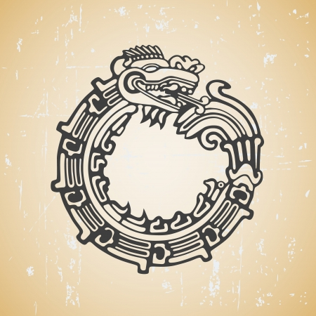 Quetzalcoatl ouroboros, maya symbolic round snake, eating its own tail Vector