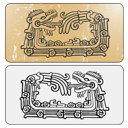 warrior tribal: Quetzalcoatl ouroboros, maya symbolic round snake, eating its own tail