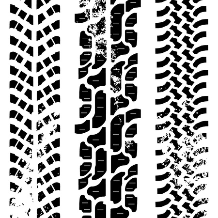 Traces of three different off-road tyres, black and white Illustration