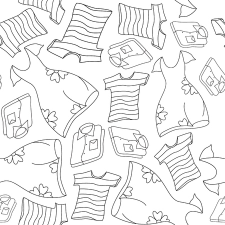 Seamless background pattern of shirts, T-shirts and dresses Vector