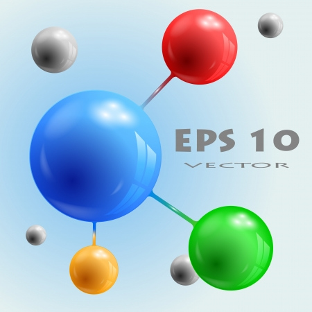 Abstract 3d spheres of different colors, connected; blue, red, green, orange Illustration