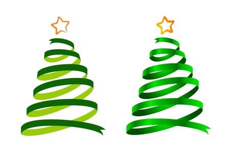 Due verdi alberi di Natale nastro, cartoni animati e realistici lucido Vettoriali