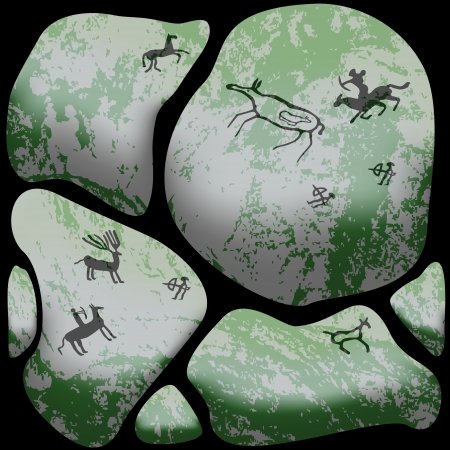 Stone cave art, ancient wild animals, hunting scenes depicted on stones