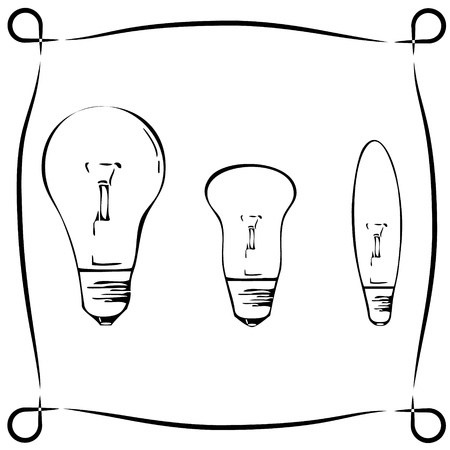 Retro light bulbs in three different shapes, black Stock Vector - 17205364