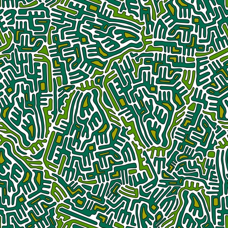Labyrinth abstract seamless pattern in green and yellow colors Illustration
