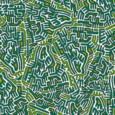 Labyrinth modello astratto senza soluzione di continuit� nei colori verde e giallo