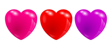 Three glossy 3d hearts with reflections, red, pink and purple