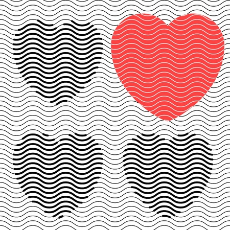 Four abstract hearts, black and red, made from wavy stripes Stock Vector - 17450783