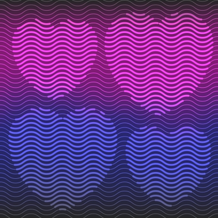 Four abstract hearts, purple and pink, made from wavy stripes Stock Vector - 17450781