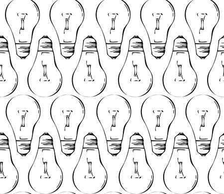 Seamless pattern made of black retro light bulbs Stock Vector - 17690023