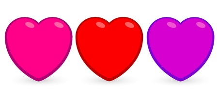 Three cartoon hearts with shadows, red, pink and purple
