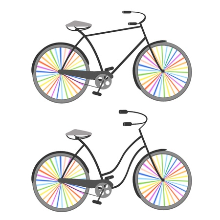 cruiser bike: Two retro bicycles  men ans women  with rainbow colored wheels
