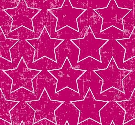 Light gray stars on grunge pink background, seamless pattern Illustration