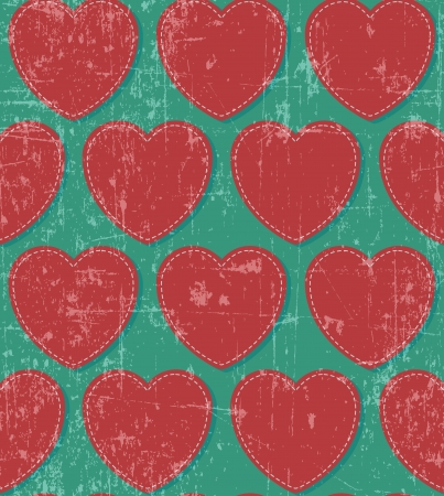 Retro red hearts on grunge background, seamless pattern Stock Vector - 17804369