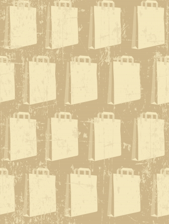 Paper shopping packet on grunge beige background; seamless pattern Stock Vector - 18001970
