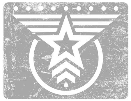 Gray military style grunge emblem with white star