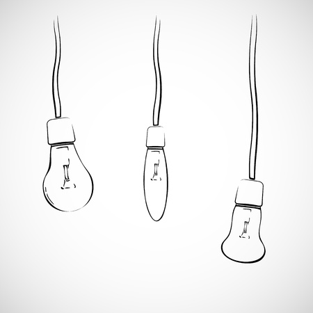 Three hanging black light bulbs on wires, hand drawn Vector