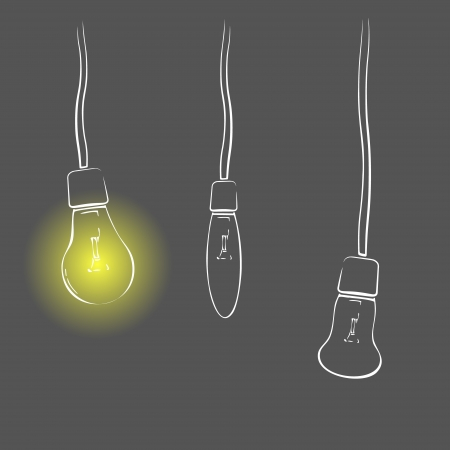 Three white light bulbs on wires on dark background Illustration