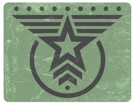 Green military style grunge emblem with gray star Vector