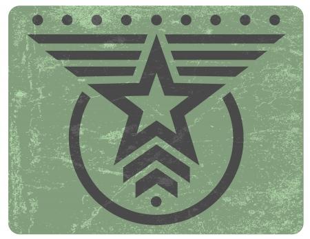 estrellas  de militares: Verde estilo militar emblema del grunge con la estrella gris