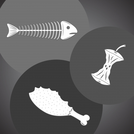 eaten: Food leavings  fish, apple, chicken  in gray colors