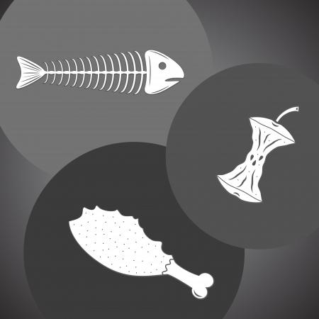 basura organica: Sobras de comida de pescado, manzana, pollo en colores grises