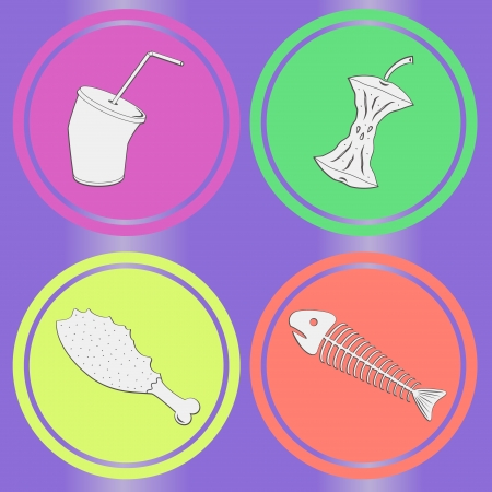residuos organicos: Alimentos peces sobras, manzana, pollo, bebida sobre fondo morado