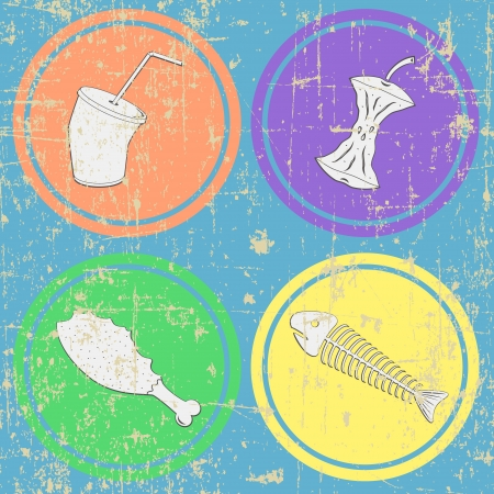 leavings: Food leavings  fish, apple, chicken, drink  on grunge seamless background Illustration