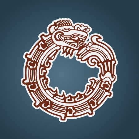 archaeology: Quetzalcoatl ouroboros, maya symbolic round snake, eating its own tail